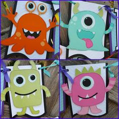 After several requests, I have added a Silly Monster theme to the shop! All the monsters are files from Too Cute By Jessica,.  These monsters are a nice big size, about 6-7. The banner pieces are embossed with a chevron pattern. They are about 5. I made the Happy Birthday banner with four monsters, so the price is a bit more. If you want to choose just two monsters for the Happy Birthday banner.. ( on the HAPPY part only) just let me know. Monster 1st Birthdays, Monster Birthday Parties, Monster Party, First Birthdays, First Birthday Banners, Twin Birthday, Boy First Birthday, Monster Decorations, Happy Monster