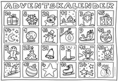 Advent calendar for coloring Again this year there will be an Advent calendar . Shape Coloring Pages, Coloring Pages For Grown Ups, Easy Coloring Pages, Free Printable Coloring Pages, Coloring Books, Advent For Kids, Advent Calendars For Kids, Kids Calendar, Book Publishing