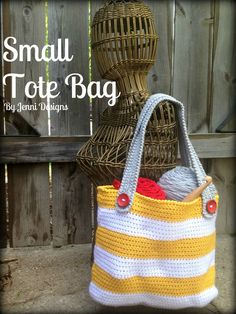 Free Crochet Pattern: Small Striped Tote Bag