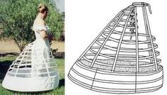 Patterns of Time 1865 Elliptical Cage Crinoline, Corsets-Undergarments