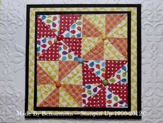 bright, four patch quilt card...looks like summer...