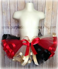 Black Red and Tan Ribbon Trim Tutu by PurpleDaisyBoutique on Etsy, $38.00