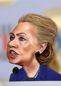 Hillary Clinton - Caricature by DonkeyHotey, via Flickr This is actually an improvement for her. Fugly!!!