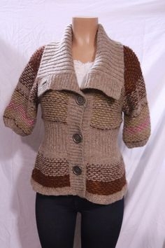 Free People Sweater Button Cardigan Chunky Knit Tan Brown Pink M INV#0523 #FreePeople #Cardigan
