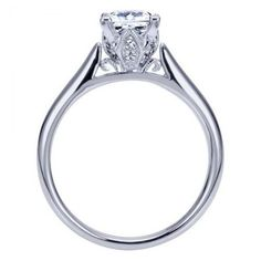 Beautiful 14K White Gold Cathedral Solitaire Engagement Ring with Vintage Inspired Crown @ Wedding Day Diamonds $760