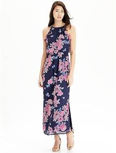 Womens Floral Chiffon Maxi Dresses