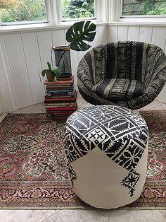 DIY Moroccan Pouf - Fez embroidery pattern stenciled on a pouf ottoman!