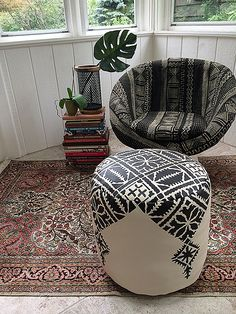 DIY Moroccan Pouf - Fez embroidery pattern stenciled on a pouf ottoman!