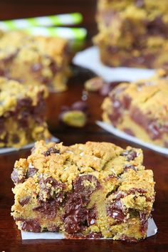 Dark Chocolate Pistachio Butter Cookie Bars