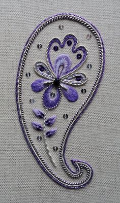 Items similar to Decorative Silver Paisley Embroidery Kit on Etsy Bordados Paisley, Paisley Embroidery, Hand Embroidery Patterns Flowers, Tambour Embroidery, Hand Embroidery Videos, Embroidery Suits Design, Hand Work Embroidery, Gold Embroidery, Embroidery Stitches