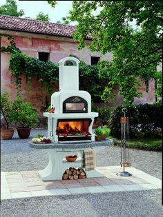 Capri 2 Wood-Charcoal Grill/Oven w/ Firewood Holder Wood Charcoal, Charcoal Grill, Pizza Oven Outdoor, Outdoor Cooking, Casa Octagonal, Grill Oven, Cooking Grill, Cooking Vinegar, Firewood Holder