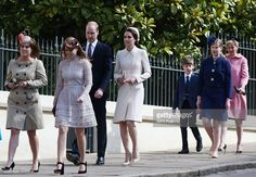 (L-R) Princess Eugenie, Princess Beatrice, Prince William, Duke of Cambridge and Catherine, Duchess of Cambridge, James Viscount Severn, Lady Louise Windsor and Sophie, Countess of Wessex attend the Easter Day service at St George's Chapel on April 16, 2017 in Windsor, England. (Photo by Jonathan Brady/WPA Pool/Getty Images)