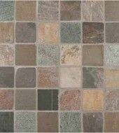 MS International 2 in. x 2 in. Mixed Slate Tumbled Square Pattern Mesh-Mounted Quartzite Mosaic Tiles