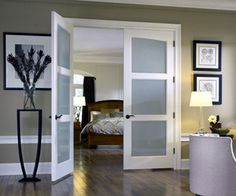 15 Different Interior Double Door Design Idea - Frosted glass door - Door Design French Closet Doors, French Doors Bedroom, Bedroom Door Design, Door Design Interior, Bedroom Doors, Interior Exterior, Home Design, Exterior Doors, Wood Bedroom