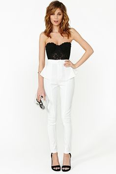 love the lace bustier with the peplum pants. black and white is so classy.