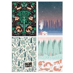 A beautiful set of eight A6 postcards in four designs by Harry and Zanna Goldhawk.