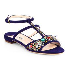 Miu Miu Jeweled Suede Sandal