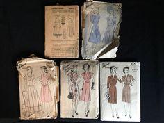 Vintage 1940s Lot~5 Women's Advance Dress Sewing Pattern Wedding Unprinted