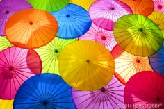 For a quick pop of color, display paper umbrellas in cheerful shades!