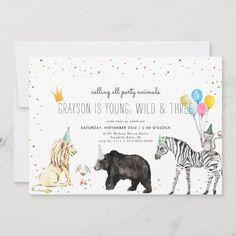 Modern Simple Party Animal Invitation Safari Birthday Party, Kids Birthday Party Invitations, Animal Birthday, 3rd Birthday, Birthday Cards, Birthday Gifts, Animal Party, Party Animals, Pink Glitter