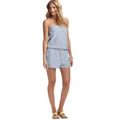 Loft - LOFT Beach View All - Striped French Terry Strapless Romper