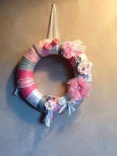 Whool yarn wreath with felt roses and rhinestones Tulle flowers satin ribbon shabby flowers lace wall decoration