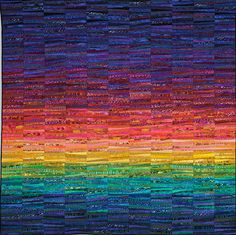 Quilts of Ann Brauer--Abstract landscapes in fiber on Behance Batik Quilts, Scrappy Quilts, Mini Quilts, Landscape Quilts, Abstract Landscape, Quilting Projects, Quilting Designs, Watercolor Quilt, Rainbow Quilt