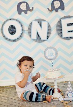 Elephant Grey Blue Chevron Birthday Party Backdrop Banner  ONE Pinwheels 1st birthday on Etsy, $22.87 AUD