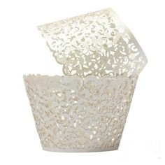Saitec ® Cream Ivory Cupcake Wrappers 100 Filigree Artistic Bake Cake Paper Cups Little Vine Lace Laser Cut Liner Baking Cup Muffin Case Trays for Wedding Party Birthday Decoration ** Visit the image link more details.