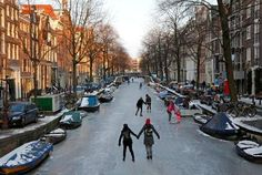 Ice Skating on the (Frozen) Canals of Amsterdam, Netherlands Amsterdam Canals, Amsterdam Netherlands, Beautiful World, Beautiful Places, Amazing Places, Wonderful Places, Wonderful Time, Places To Travel, Places To See