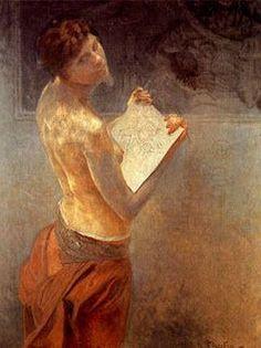Alphonse Maria Mucha first name from the Czech July 1860 – 14 July was a Czech Art Nouveau painter and decorative artist. Art Nouveau, Art Deco, Eslava, Alphonse Mucha Art, Academic Art, Inspirational Artwork, Sculpture, Poses, Les Oeuvres