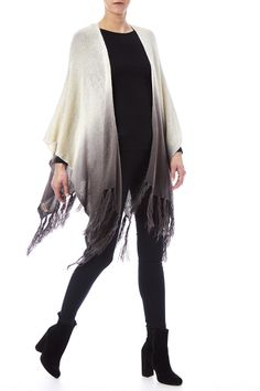 Ombre shawl with tassel trimming and an asymmetric hemline.  Dip-Dye Tassel Poncho by Look by M. Accessories - Scarves & Wraps Texas