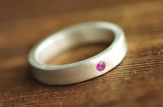 modern wedding band -  minimal thick square ring with flush set 2mm ruby, emerald or sapphire - sterling silver