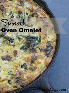 Spinach Oven Omelet - The Finer Things in Life Breakfast For Dinner, Breakfast Ideas, Breakfast Recipes, Family Meal Planning, Family Meals, Omelet, Morning Food, Brunch Recipes, Soul Food