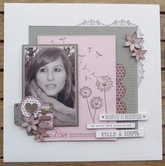 Page Challenge #16 - make a page with only 3 colors, stamping and an embellishment cluster