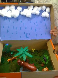 Science Projects, School Projects, Projects For Kids, Project Ideas, Rainforest Project, Rainforest Habitat, Diorama Kids, Frog Habitat, Weather Crafts