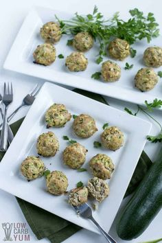 Easy to make chicken or turkey zucchini meatballs baked in the oven. The shredded zucchini ensures that the meat stays moist. Makes a tasty appetizer! #glutenfree #dairyfree #keto #lowcarb | LowCarbYum.com