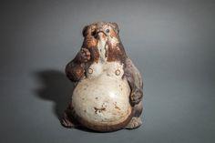 Japanese Ceramic Figure of a Badger (Tanuki) - Naga Antiques Japanese Raccoon Dog, Japanese Screen, Ceramic Figures, Japanese Ceramics, Badger, Spirit Animal, Primitive, Modern Design, Dog Prints