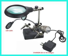 magnifying glass lampe loupe desktop Magnifier with led lupe vergrootglas tercera mano helping third hand soldering lentes lupa