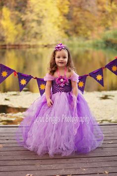Rapunzel inspired tutu dress & Headpiece by TheAdorablePlace, $50.00