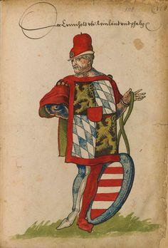 «Der Herold von Rheinland un Pfalz». Faszikel VIII: Wappenherolde der süddeutschen Länder (213r) -- «Sammelband mehrerer Wappenbücher», Augsburg? (Süddeutschland), um 1530 [BSB Cod.icon 391].