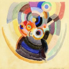 Sonia Delaunay Chanteurs flamencos signed and dated 'Sonia Delaunay (lower right) gouache and watercolor on paper 16 x 16 in. x cm.) Painted in 1916 Sonia Delaunay, Robert Delaunay, Inspirational Artwork, Colorful Paintings, Gouache, Watercolor, Fine Art, Drawings, Artworks