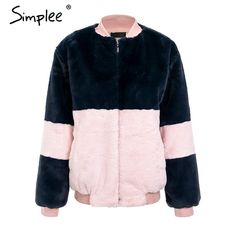 fc85b715423 Simplee Fashion contrast color pink fur coat Women long sleeve warm jacket  faux fur thick coat