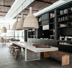 Dining room inspiration, black, concrete, timber and wicker...