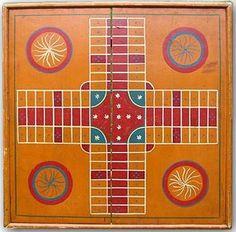 painted vintage parcheesi game board