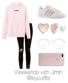 """""""Weekends with Jimin By @leyoutfits"""" by leyoutfits on Polyvore featuring Topshop and adidas"""