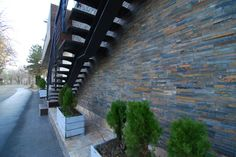 Multicolour slate panel 15x60 cm mounted on a trattoria place
