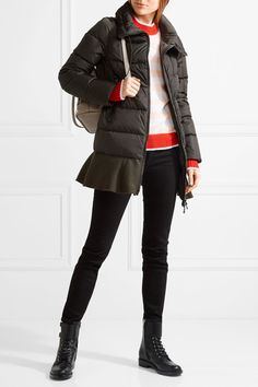 MONCLER cozy Viburnum wool blend-trimmed quilted down coat