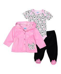 Look at this #zulilyfind! Pink & Black Bow Bodysuit Set - Infant #zulilyfinds