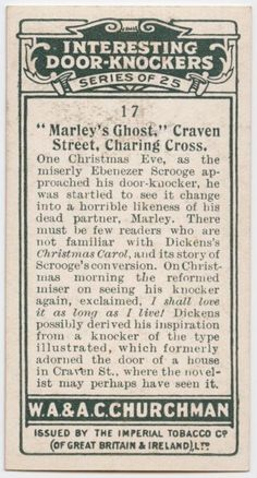 A Christmas Carol - characters from Dickens cigarette cards - Door-knocker (back side of card)